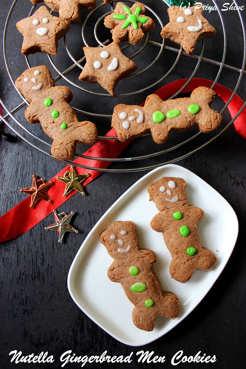 Eggless Nutella Gingerbread Men cookies