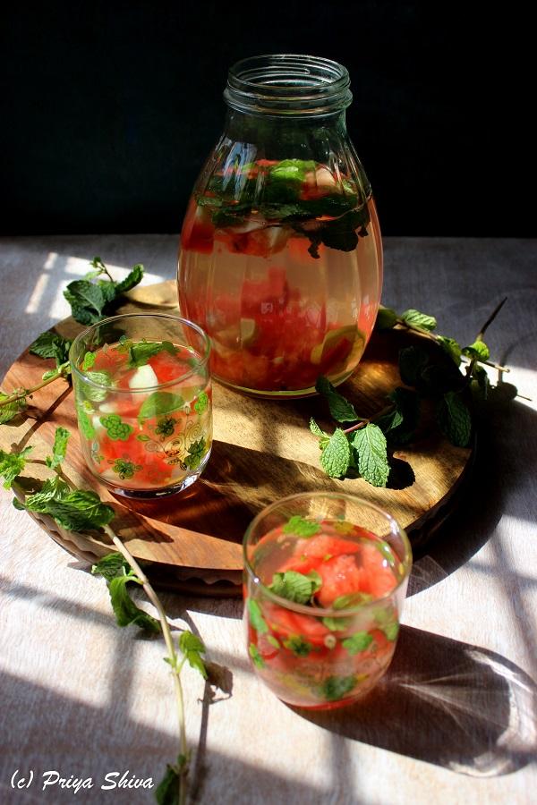 Watermelon green tea detox drink recipe