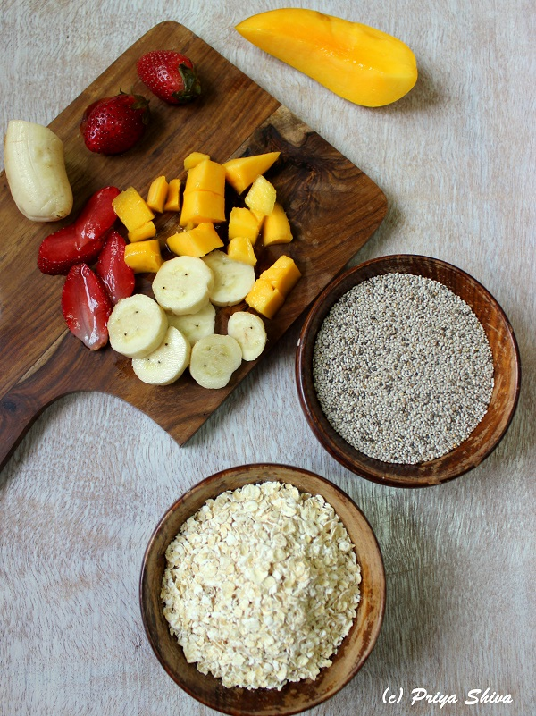 ingredients for oats chia seeds breakfast bowl