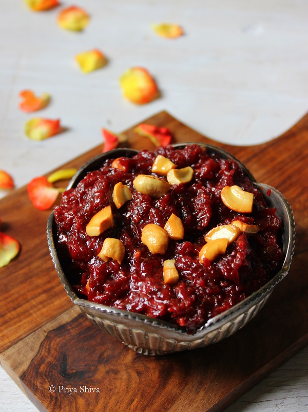 beetroot pudding, beetroot halwa