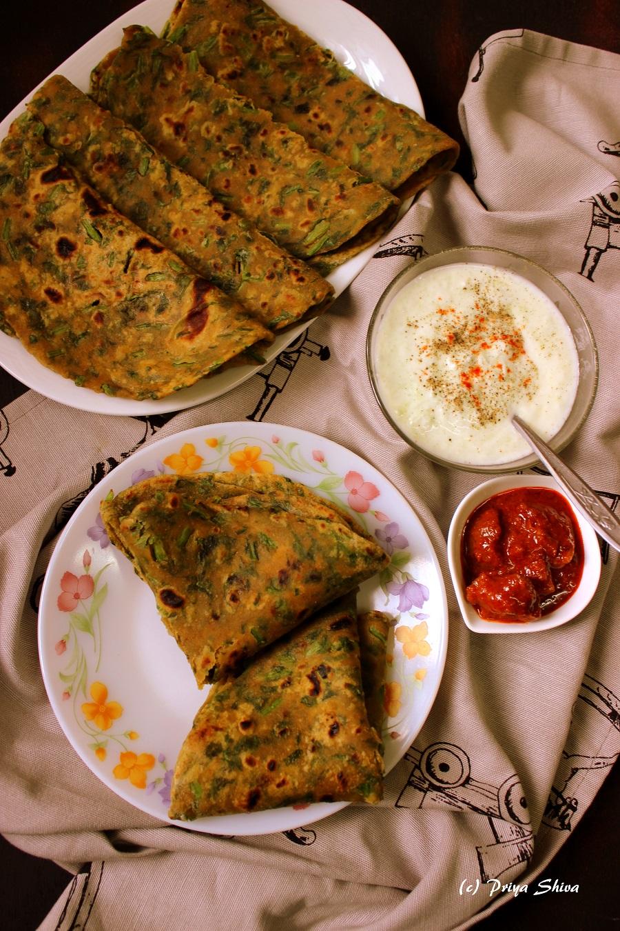 Palak Paratha, spinach paratha