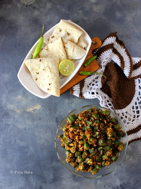 Moongphali Bhindi - Peanut Okra Fry recipe