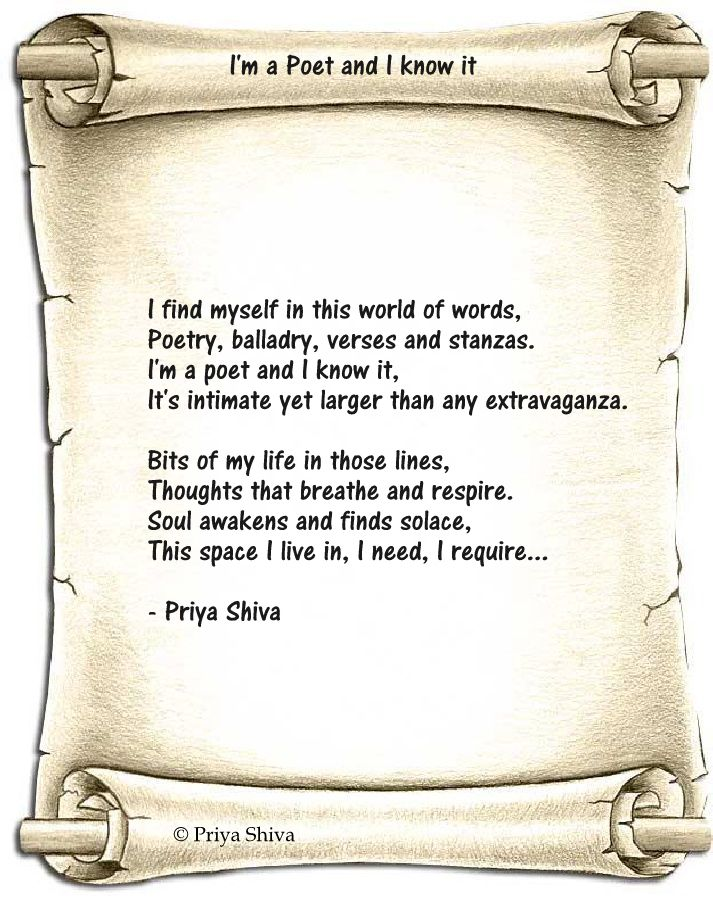 I'm a poet and I know it