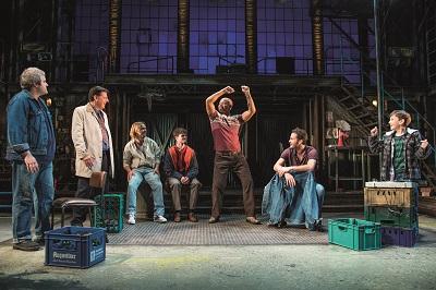Martin Miller, Andrew Dunn, Rupert Hill, Bobby Schofield, Louis Emerick, Gary Lucy and Fraser Kelly in THE FULL MONTY photo Matt Crockett