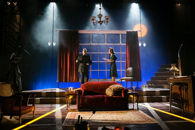 Graham Seed as Squadron Leader Swanson and Hedydd Dylan as Patricia Graham in Flare Path. Credit Jack Ladenburg