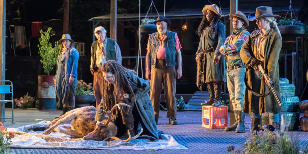 """London, UK. 09.07.2018. Regent's Park Open Air Theatre presents """"As You Like It"""", by William Shakespeare, directed by Max Webster. With movement direction by Polly Bennett, lighting design by Lee Curran, costume and set design by Naomi Dawson. The cast includes: Simon Armstrong, Jack Beale, Maureen Beattie, Amy Booth-Steel, Me'sha Bryan, Edward Hogg, Keziah Joseph, Beruce Khan, Danny Kirrane, Gary Lilburn, Joanne McGuinness, Kristian Phillips, Jacade Simpson, John Stahl, Olivia Vinall, and Silas Wyatt-Barke. Photograph © Jane Hobson."""
