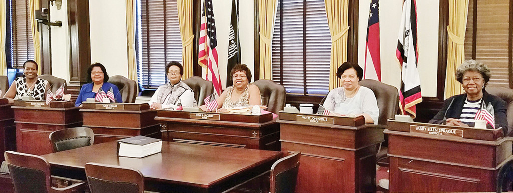 TRAVELERS: Velma Wyman, Michele Cooper, Pat Thomas,Cheryl Manning,Jan Mouzon,and Devorah Thomas-James occupy Savannah City Council seats.