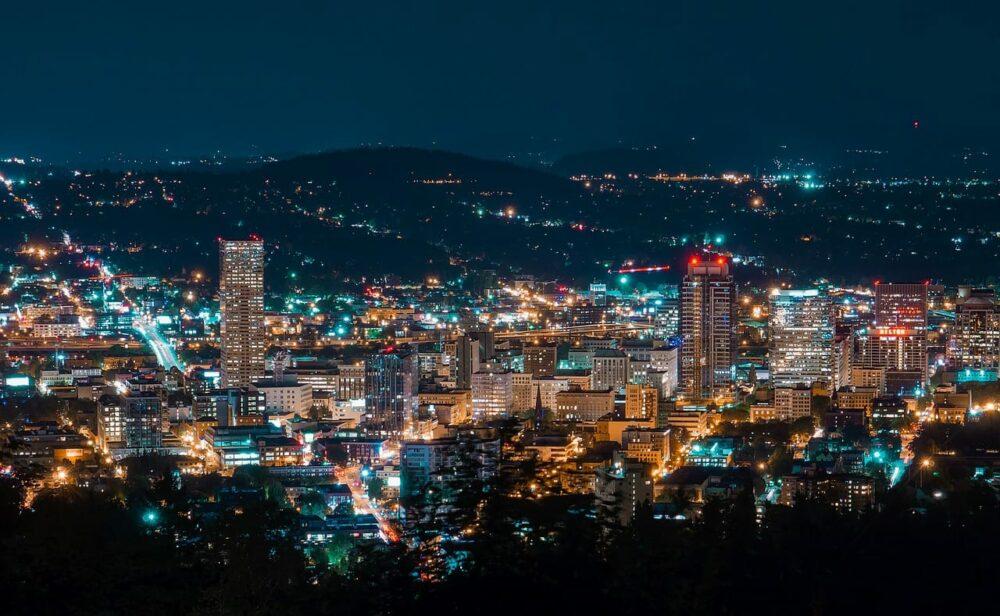View of Portland, Oregon at night