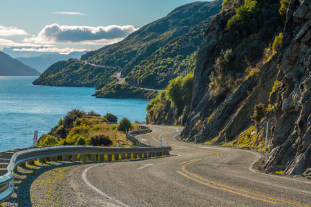 44358547 - road along lake wakatipu, queenstown, new zealand
