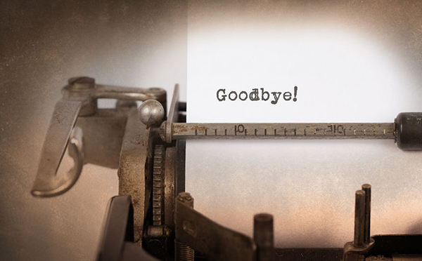 37119663 Vintage inscription made by old typewriter, goodbye