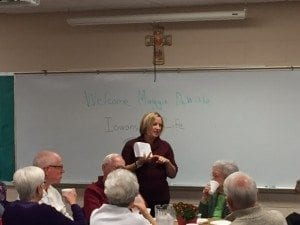 Executive Director Maggie Dewitte speaking at St. Francis of Assisi Parish to the Sensational Seniors about pro-life issues.