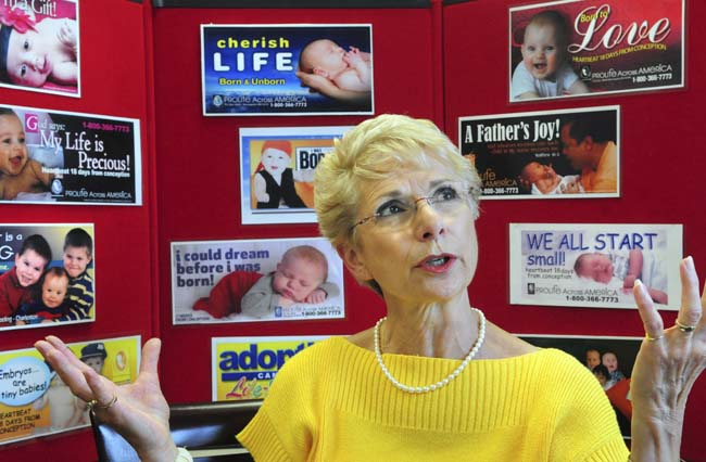 Mary Ann Kuharski, head of Prolife Across America ('The Billboard People') poses for a photo in their St. Anthony, Minn., office on Tuesday, July 17, 2012. (Pioneer Press: Ben Garvin)