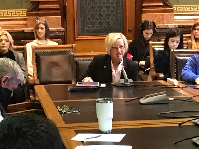 Maggie DeWitte testifies at the State Capitol