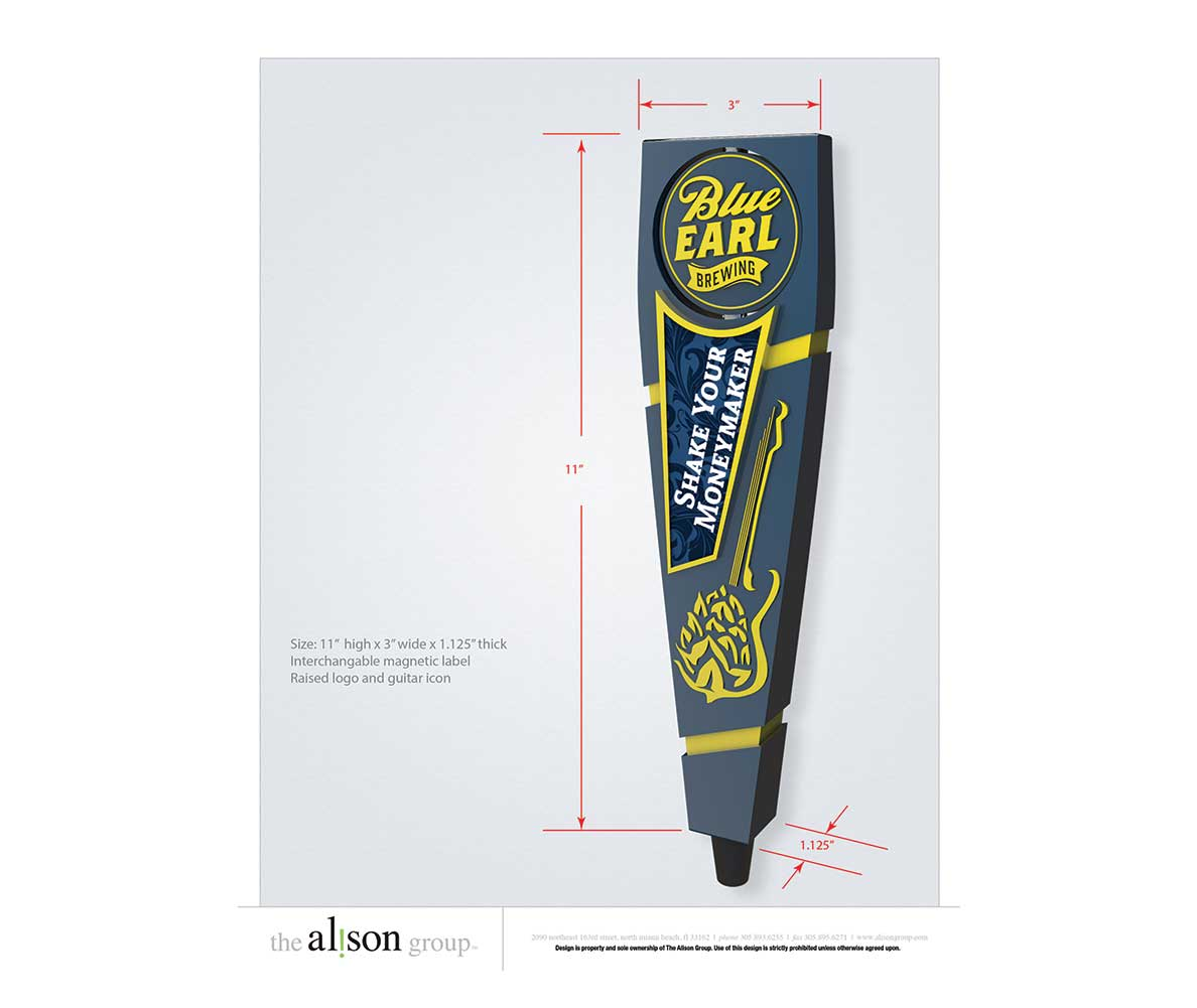 Blue Earl custom tap handle design