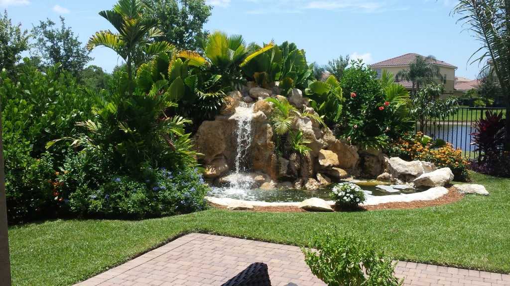 xero lot line landscape & waterfall backyard waterfall, boynton beach, canyons 1, after photo