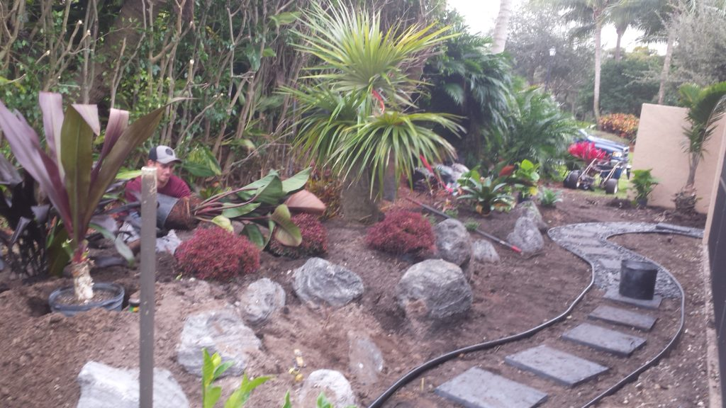 The photo here shows the shaping of the elevations and character of the beds being set before the full planting and rock work