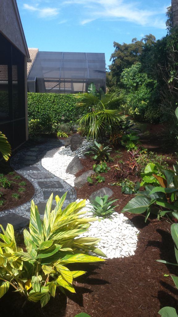 Rock scape garden in backyard with new landscape