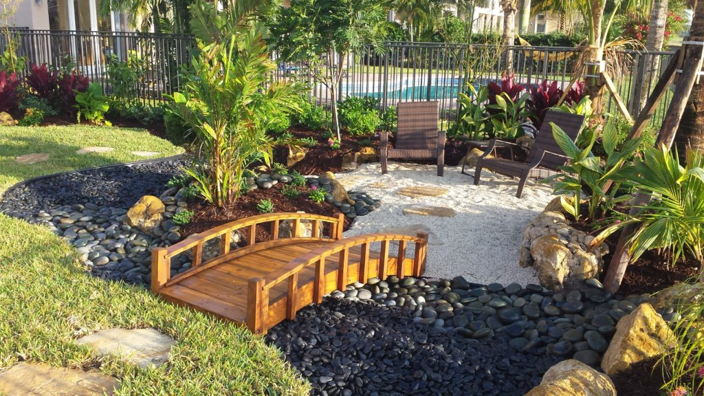 Landscape design & Installation. Tropical landscape with an Asian style seating garden