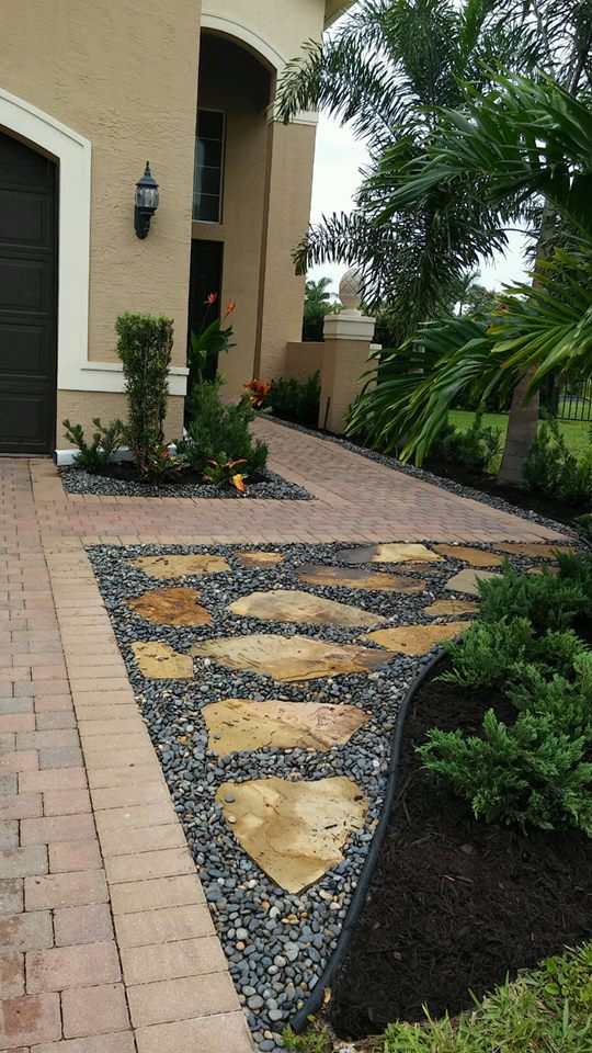 using landscape stone by driveway