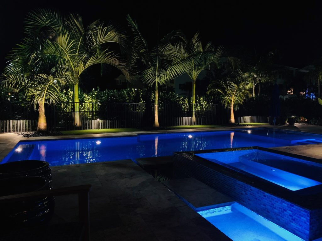 Pool landscape with Palms landscape lighting in Palm Beach Gardens