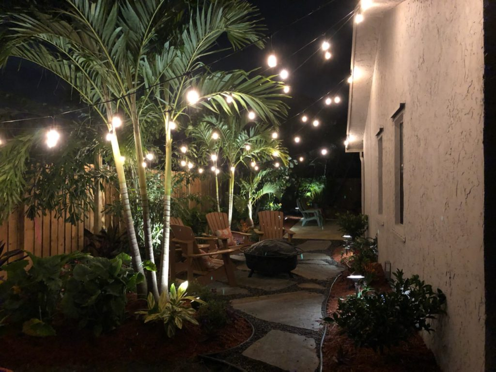 Fire pit Patio and landscape area in Delray Beach