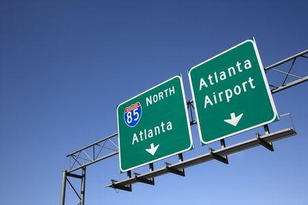 roadsign to Atlanta airport