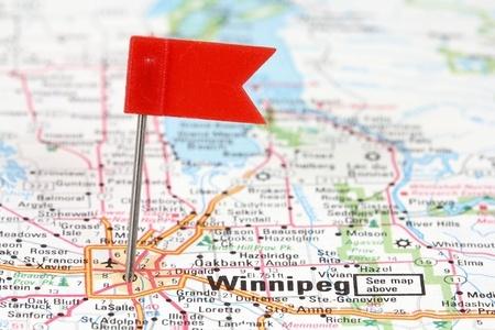 closeup of map of Winnipeg