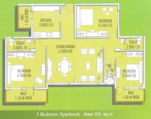 Devashri Garden 3 BHK Floor Plan Type 2