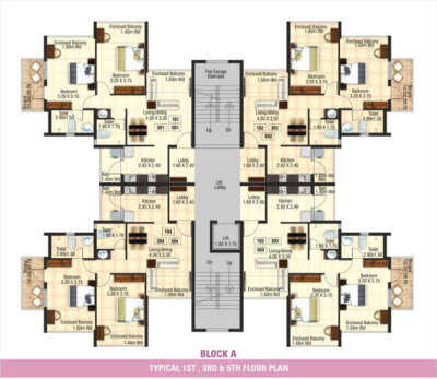 Block A - Typical 1st, 3rd & 5th Floor Plan