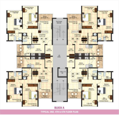 Block A - Typical 2nd, 4th & 6th Floor Plan