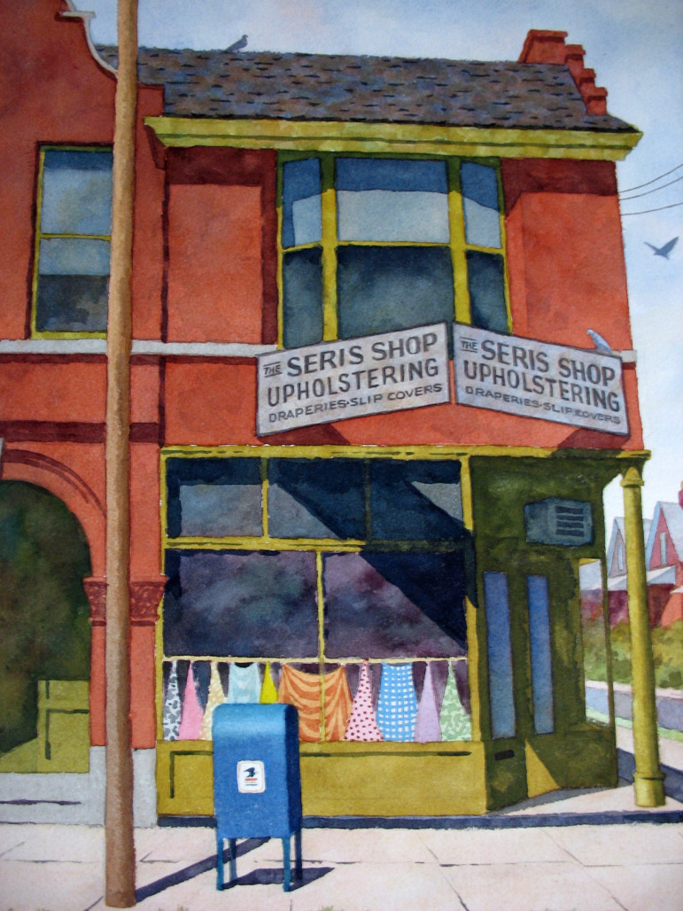 This version suffers from a bit of camera distortion.  I took these photos in a dimly lit bedroom that at the time contained 350+ of Stan's paintings.  I'll post more of Stan's paintings of Maplewood landmarks in my next post.
