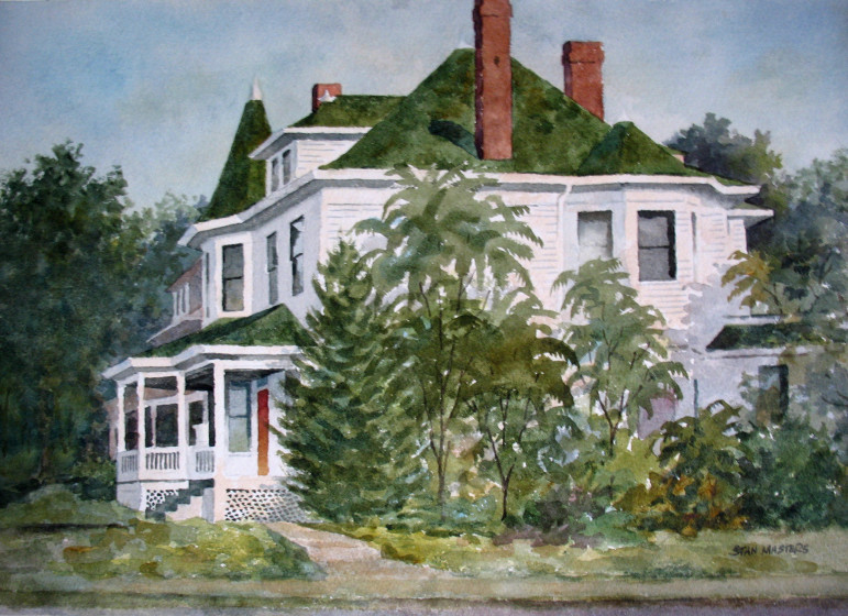 Stan painted this view of the Clifford house on Flora at Sutton in 1977.