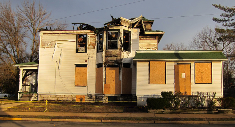 A last heartbreaking view of the Clifford house which burned early in 2012.