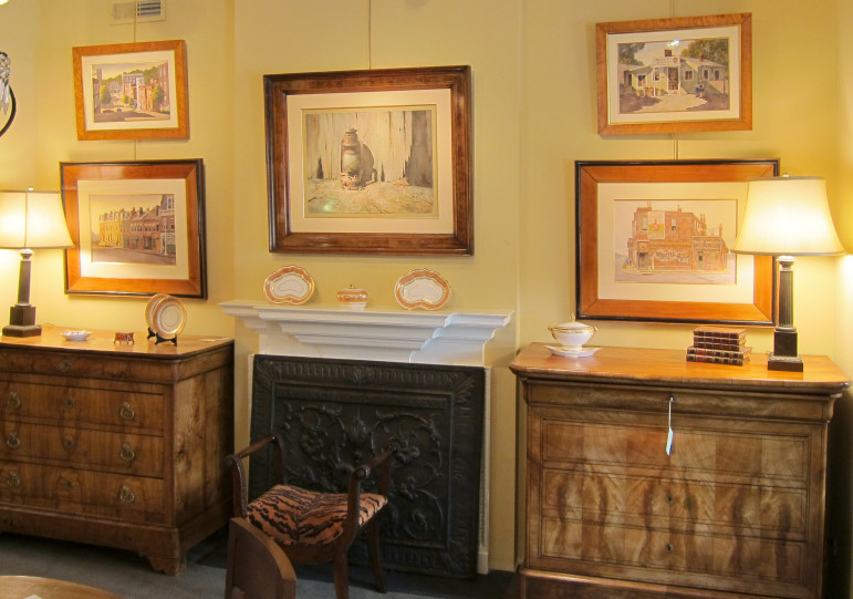 You'll not find a better setting to view Stan's paintings than the rotating display at Clark Graves Antiques in Clayton.