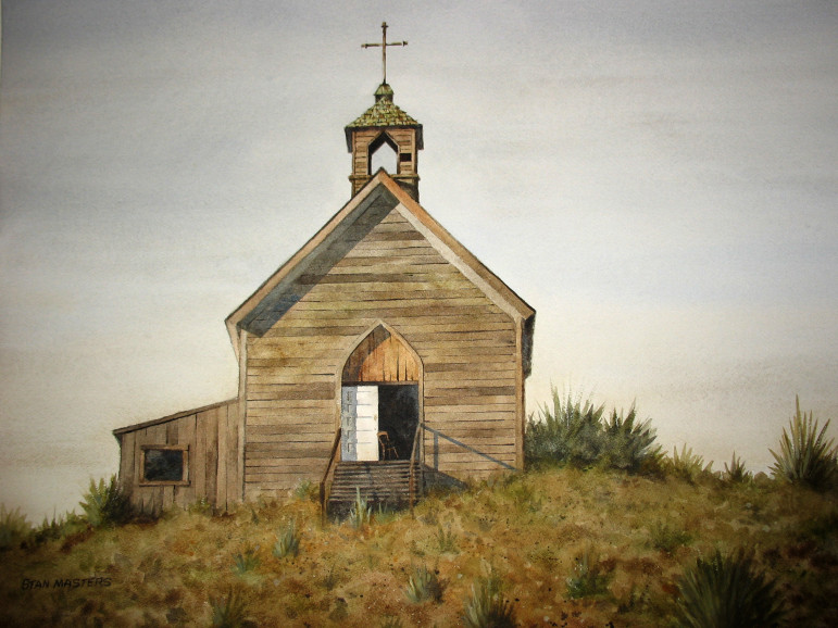 This appealingly decrepit church would look great on your living room wall if it hasn't already been sold.