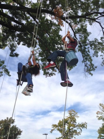 MRH Middle School students take off toward the top of the tree as part of the school's tree climbing program.