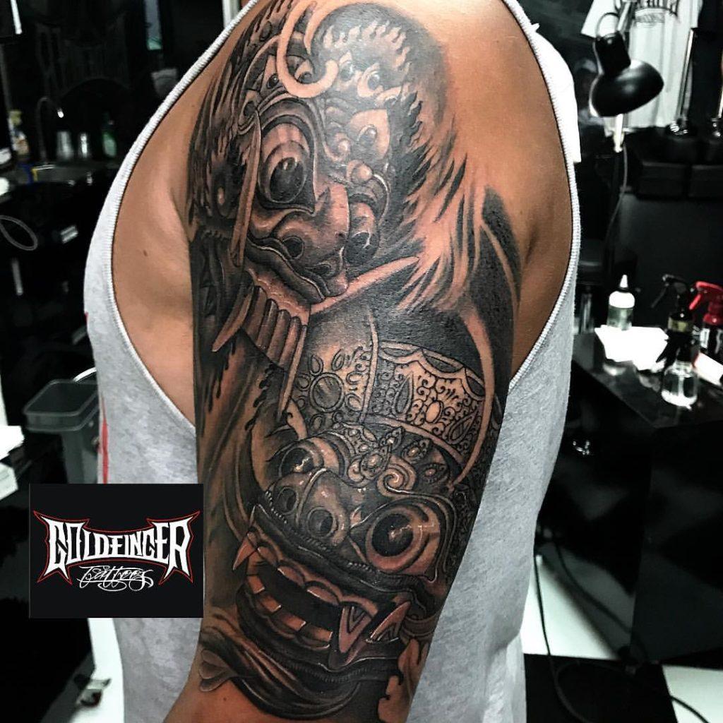 32e31e526 ... Rangda and Barong Mask Tattoo Sleeve by Gus Badra Goldfinger Tattoo  Studio