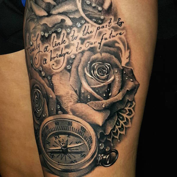 c5d0d37a5d7c8 Black and grey tattoo of rose and compass by Hendro Dewisura, Luxury Ink  Bali