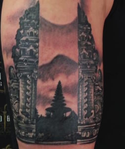 Agung volcano and temple tattoo by Yuda HBSC Bali