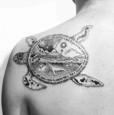 Bali Turtle with Islands Tattoo BACHTZ TATTOO