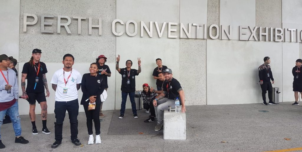 10b6ceb0de0b9 Bali artists outside Perth Convention Center before the 2018 tattoo expo
