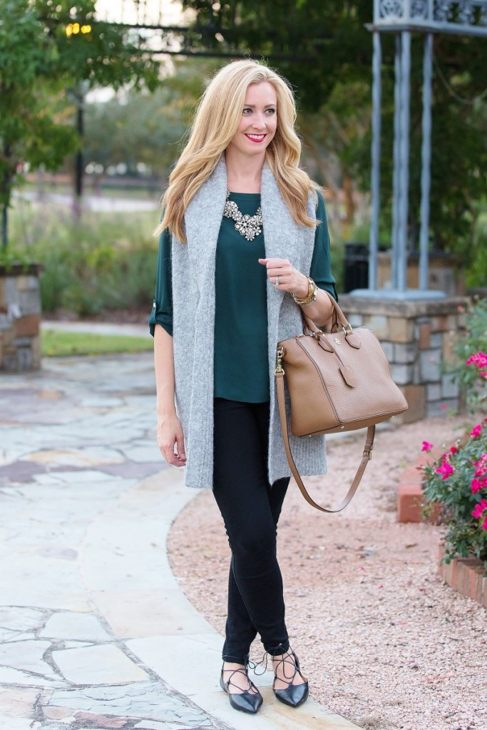 Green Blouse and long vest