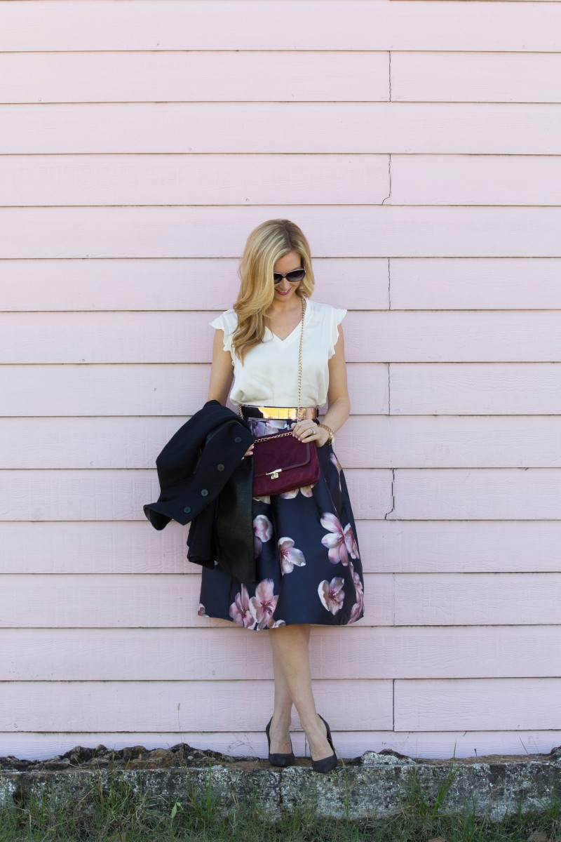 Floral a line midi skirt