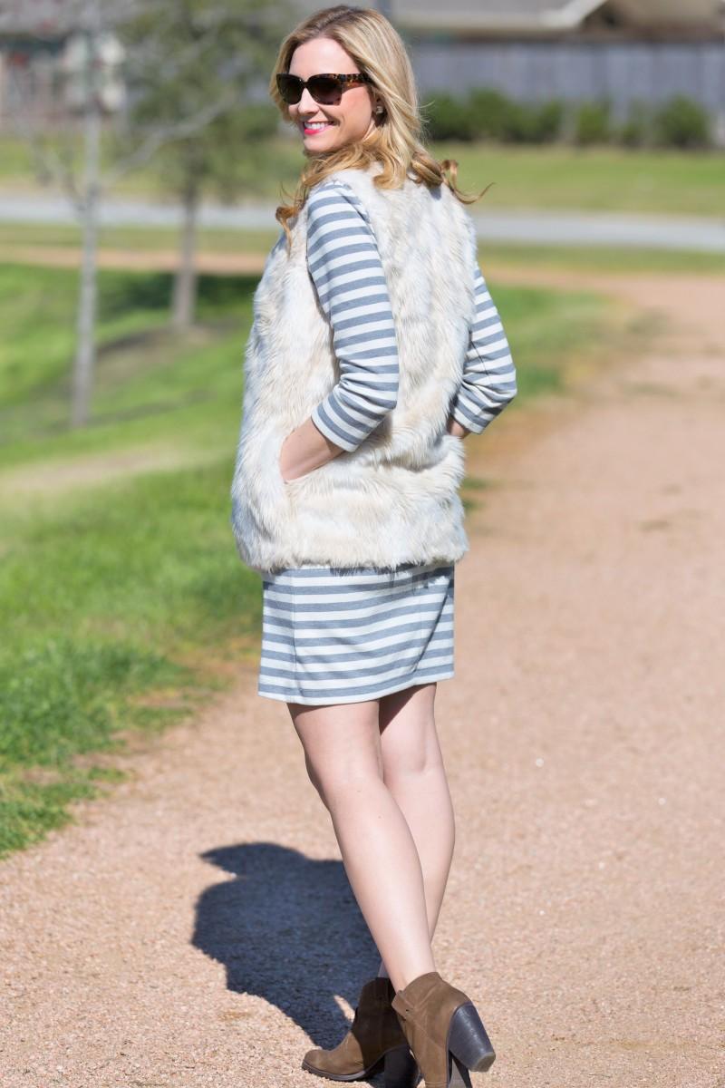 stripe dress and faux fur vest