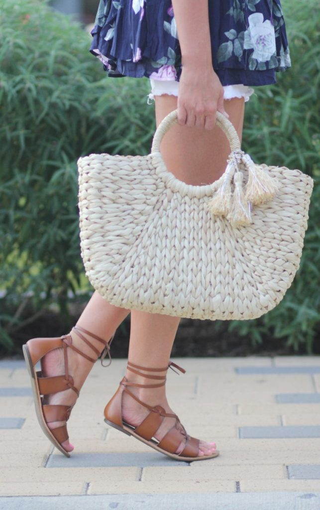 Straw Tote and lace up sandals