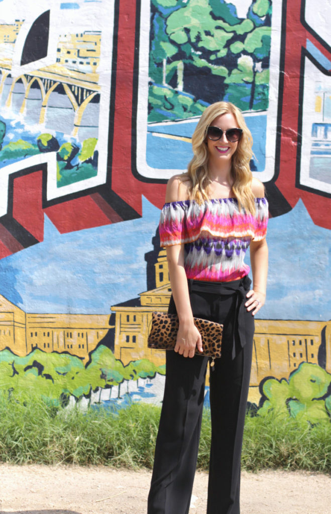 off the shoulder top and black pants