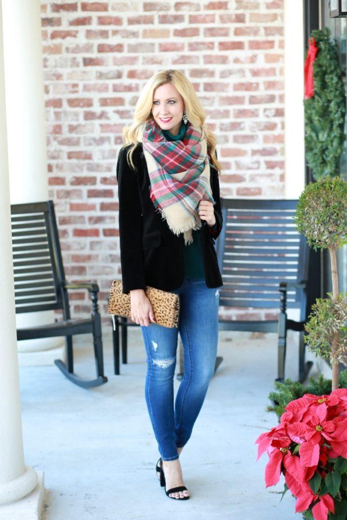 velvet blazer plaid scarf