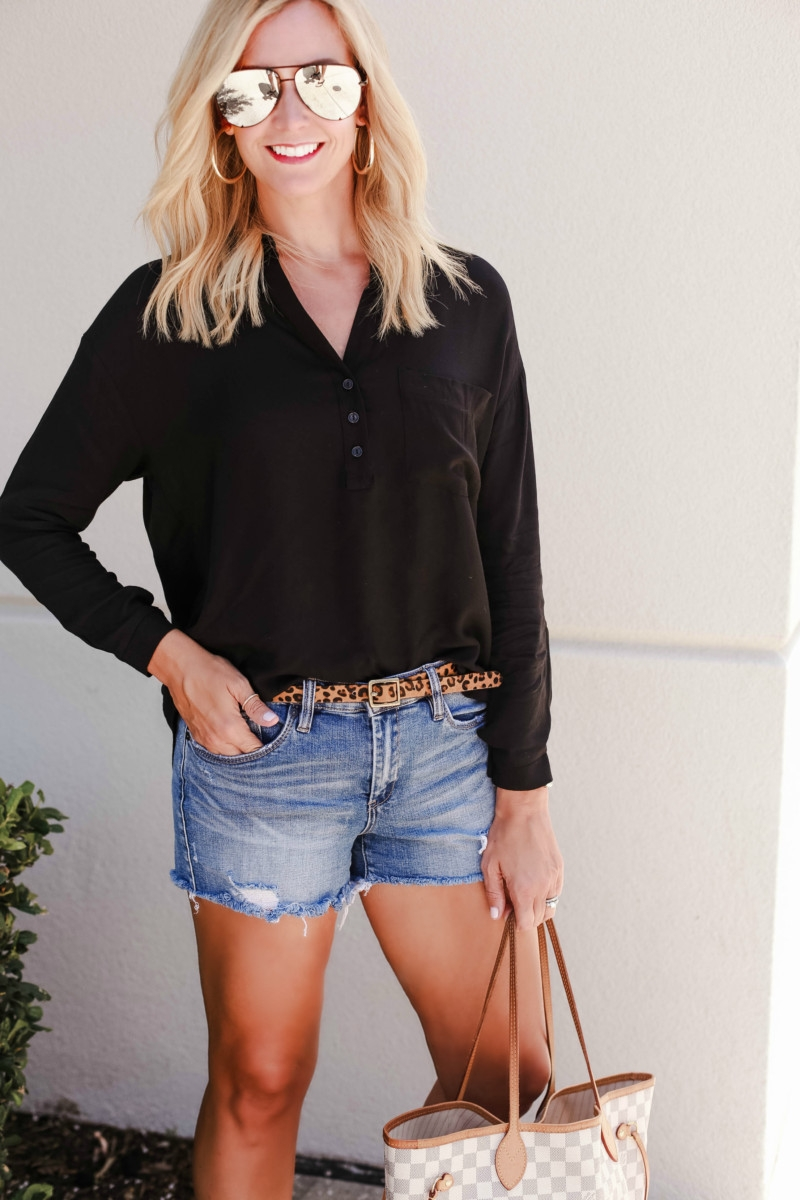 black button up top - Your Favorite Podcasts By Genre and Favorite Summer to Fall transitional outfits featured by popular Houston life and style blogger, Haute & Humid