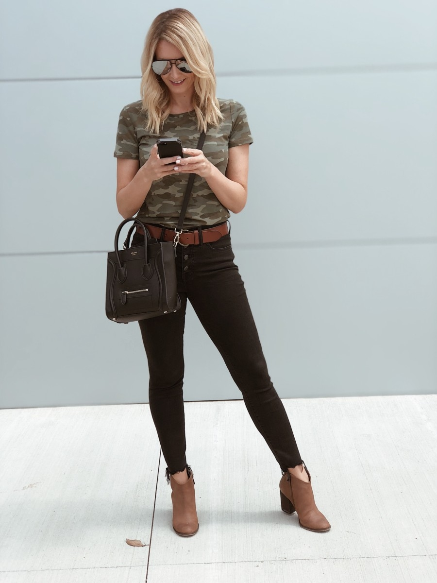 camo top | Instagram | Amazon | Nordstrom | Madewell | Hunters | Gucci | Chanel | Fall Fashion: Instagram Roundup featured by top Houston fashion blog Haute & Humid