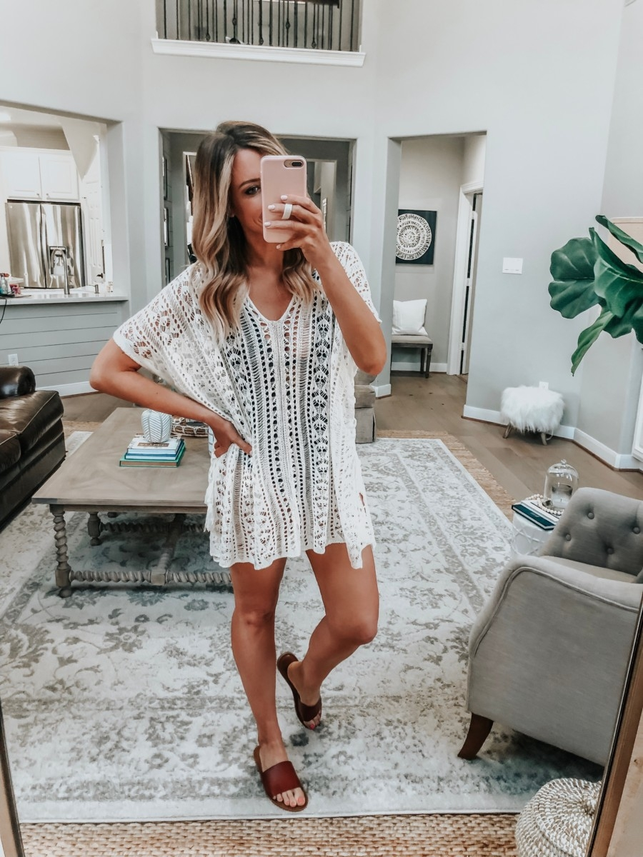 swimsuit coverup | 8 Affordable Swimsuits For Summer featured by top US life and style blog, Haute & Humid; image of a woman wearing an Amazon swimsuit cover up
